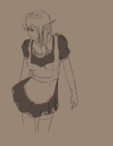 Elf woman in maid outft looking to the bottom left corner