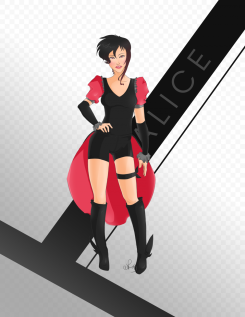 illustration of woman in crimson and black outfit, boots and short hair with name in background